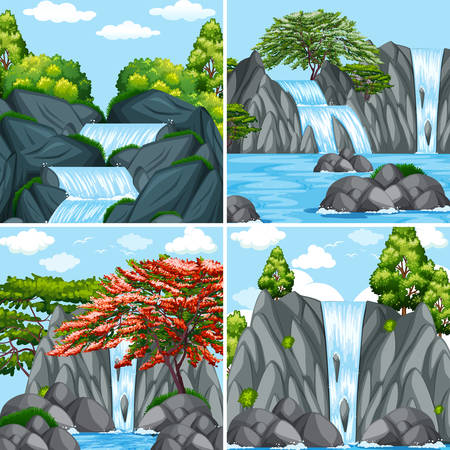 Four scenes of waterfall at daytime illustration.