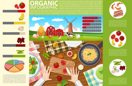 Info-graphic design with food and organic farm illustration.