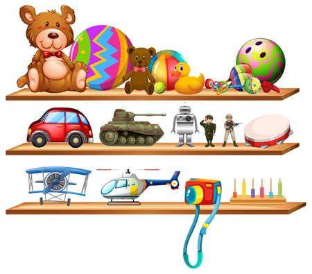 Toys on wooden shelves illustration.