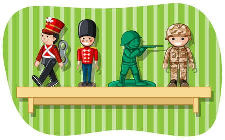 Soldier figures on wooden shelf illustration.