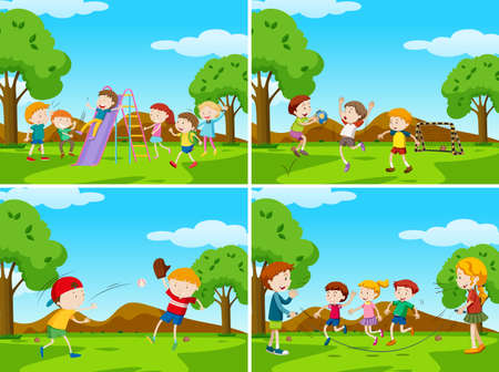 Playground scenes with kids playing sports illustration.