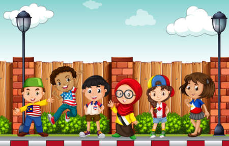 Many children standing on pavement illustration