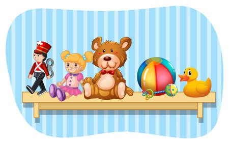 Many types of toys on wooden shelf illustration Illustration