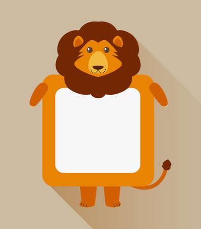 Frame design with lion character illustration Illustration
