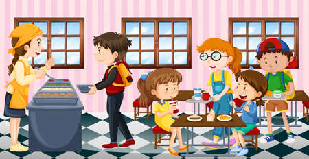 Kids eating lunch at the canteen illustration Иллюстрация