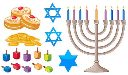 Happy Hanukkah elements with jewish symbols illustration