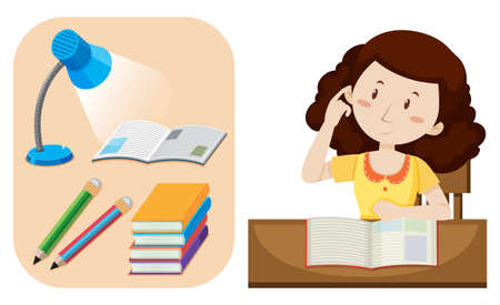 Girl doing homework on table illustration. Illustration