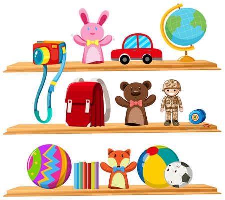 Toys and books on wooden shelves illustration. Illustration