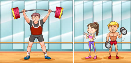 People working out in gym illustration. Illustration