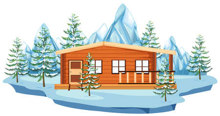 Wooden cottage in snow field illustration.