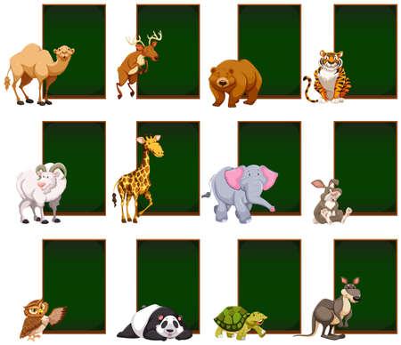Blank chalkboard with wild animals illustration. Illustration
