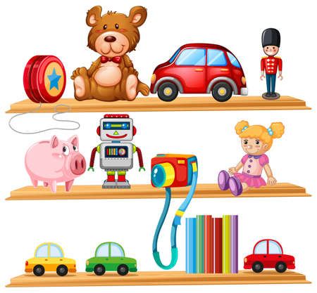 Many toys and books on wooden shelves illustration.