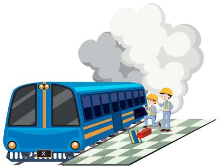 Two mechanics repairing train engine illustration. 向量圖像