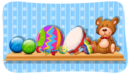 Balls and other toys on the shelf illustration.