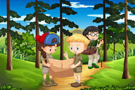 Kids hiking up the mountain illustration. Illustration