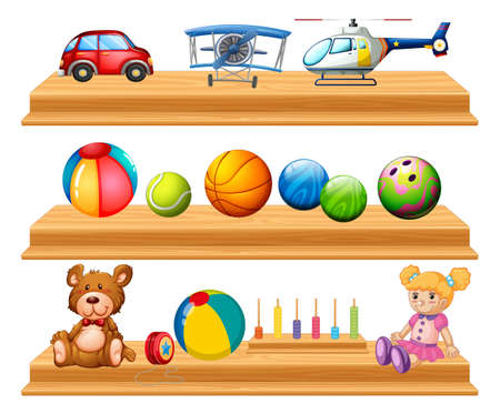 Different types of balls and toys on shelves illustration.