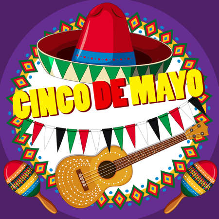 Poster design for Cinco de mayo with hat and guitar illustration. Vettoriali