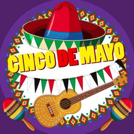 Poster design for Cinco de mayo with hat and guitar illustration. Illustration