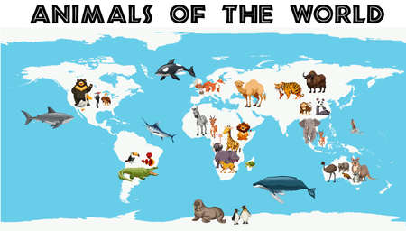 Different types of animals around the world on the map illustration. Ilustração