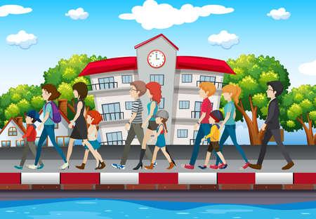 People walking on the sidewalk illustration.