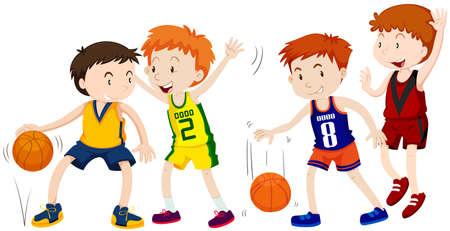 Boys playing basketball on white background illustration.