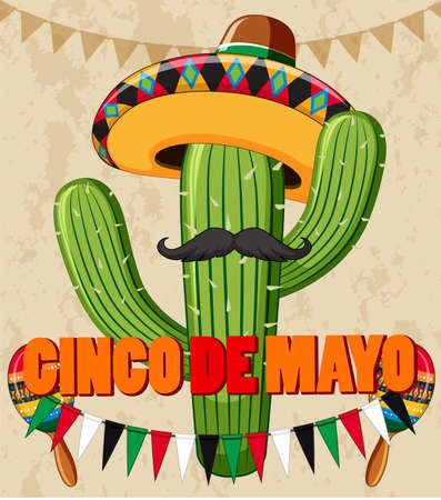 Cinco de Mayo poster design with cactus with hat illustration Ilustração