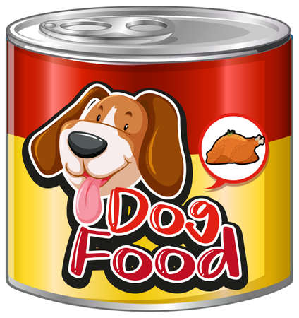 Dog food in aluminum can illustration