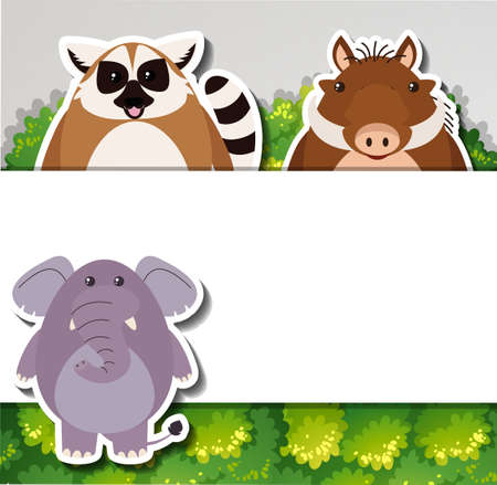 Banner template with cute animals illustration