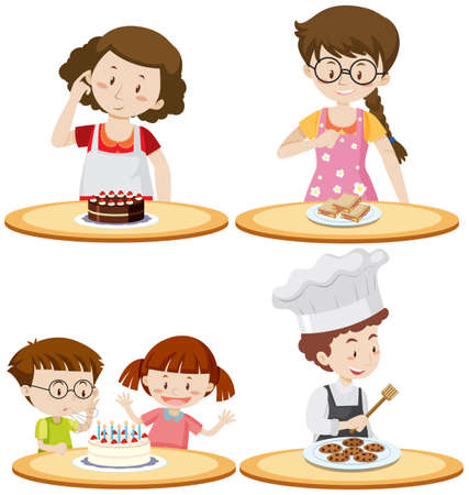 People and different food on tables illustration