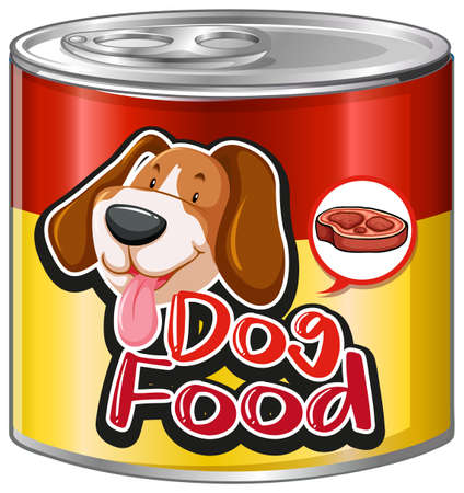 Dog food in aluminum can with cute dog on label illustration Illustration