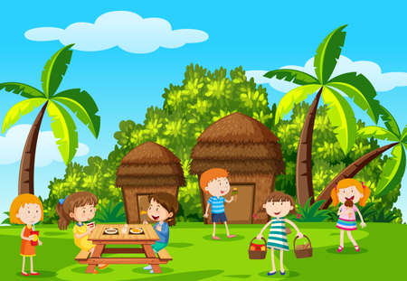 Childre picnic in the park illustration