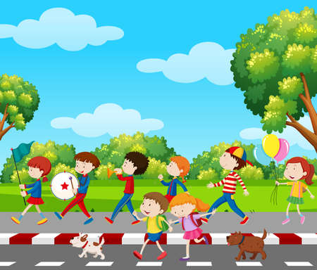 Children in band marching in park illustration Illustration