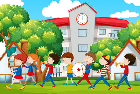 School band marching in front of school illustration