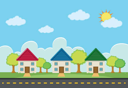 Scene with three houses along the road illustration.