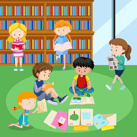 Students reading books in library illustration.