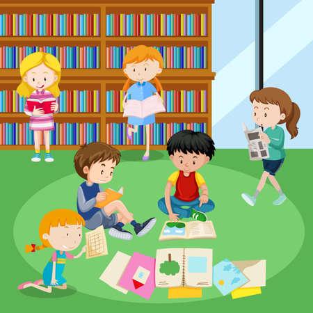Tudiants en lisant des livres dans l'illustration de la bibliothèque. Banque d'images - 94430293