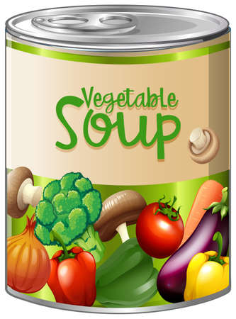 Vegetable soup in aluminum can illustration.