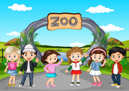 Many children visiting the zoo illustration.