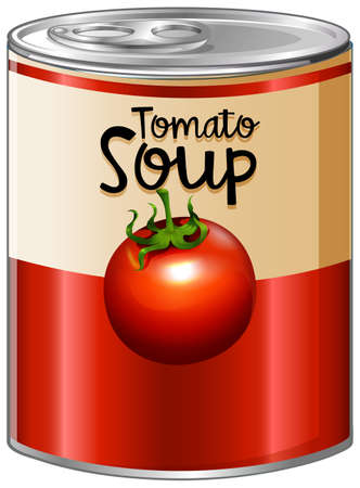 Tomato soup in aluminum can illustration.