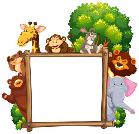 Wooden frame with many animals in background illustration.