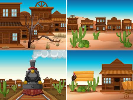 建物と列車のイラストを持つ4つの西洋のシーン。