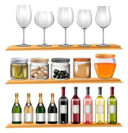 Wine glasses and food on wooden shelves illustration.