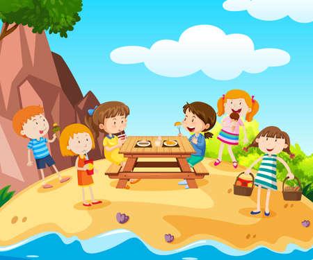 Happy kids having lunch on island illustration.
