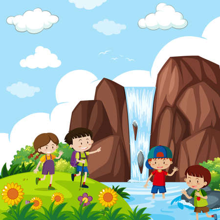 Four kids by the waterfall illustration.