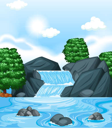 Background scene with waterfall and trees illustration.