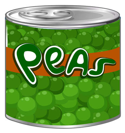 Green peas in aluminum can illustration.