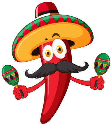 Red chili wearing hat and shaking maracas illustration