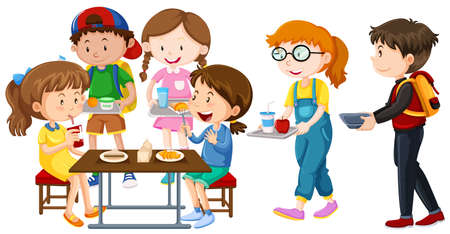 Children having lunch on table illustration.