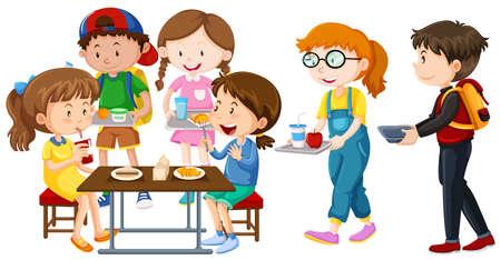 Children having lunch on table illustration.
