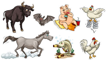 Different types of animals doing different things illustration.